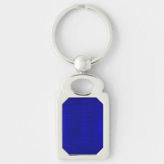 Metálico, real, azul, moderno, reflejo, elegante, llavero plateado rectangular