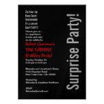 Metálico rojo negro cumpleaños moderno de la SORPR Invitaciones Personalizada