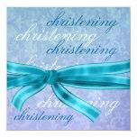 Metálico superior azul del bautizo del bebé anuncios personalizados