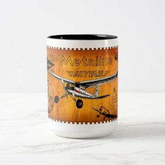 Metalina de los aviones modelo del vintage taza dos tonos