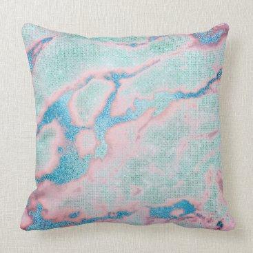Beach Themed Metallic Abstract Beach Ocean Blue Coral Glitter Throw Pillow