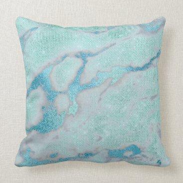 Beach Themed Metallic Abstract Beach Ocean Blue Glam Glitter Throw Pillow