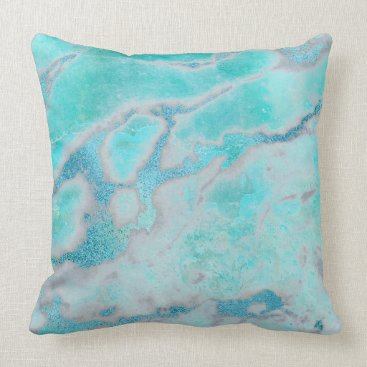 Beach Themed Metallic Abstract Beach Ocean Blue Gold VIP Marble Throw Pillow