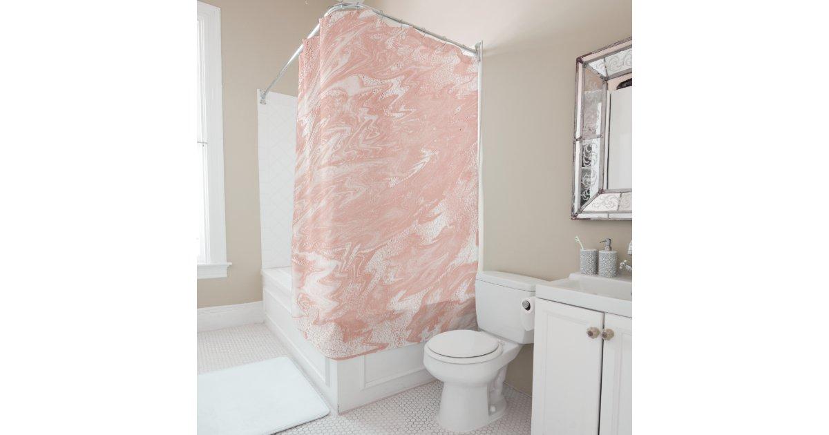 Metallic Abstract Marble BlushRose Gold Pink Blush Shower Curtain