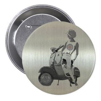 Metallic aluminium effect scooter girl pins