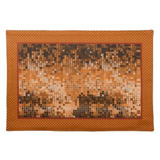 Metallic Amber Sequins Look-Disco Ball Pattern Place Mat
