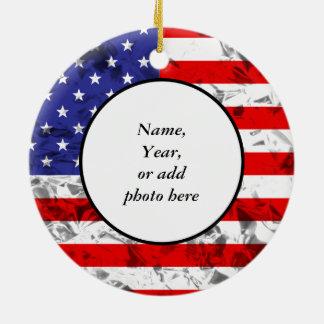 Metallic American Flag Design 2 Ceramic Ornament