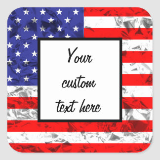 Metallic American Flag Design 2 Square Sticker