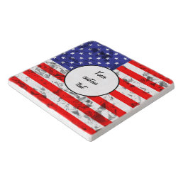 Metallic American Flag Design 2 Trivet