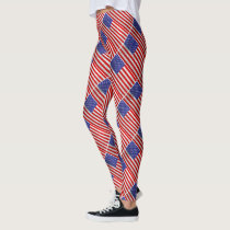 Metallic American Flag Design Leggings