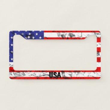 USA Themed Metallic American Flag Design License Plate Frame