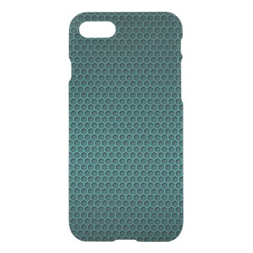 Beach Themed Metallic Aqua Blue Graphite Honeycomb Carbon Fiber iPhone 7 Case