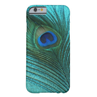 Metallic Aqua Blue Peacock Feather Barely There iPhone 6 Case