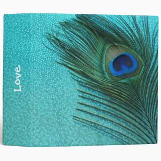 Metallic Aqua Blue Peacock Feather Binder