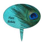 Metallic Aqua Blue Peacock Feather Oval Cake Toppers