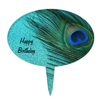 Metallic Aqua Blue Peacock Feather Cake Topper