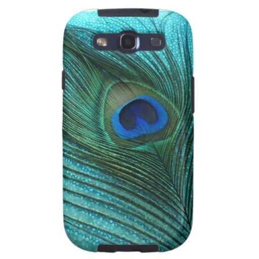 Metallic Aqua Blue Peacock Feather Samsung Galaxy SIII Case