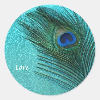 Metallic Aqua Blue Peacock Feather Classic Round Sticker