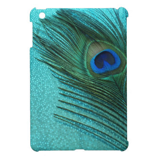 Metallic Aqua Blue Peacock Feather Cover For The iPad Mini