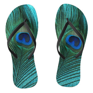 Metallic Aqua Blue Peacock Feather Flip Flops