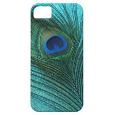 Metallic Aqua Blue Peacock Feather iPhone 5 Cases