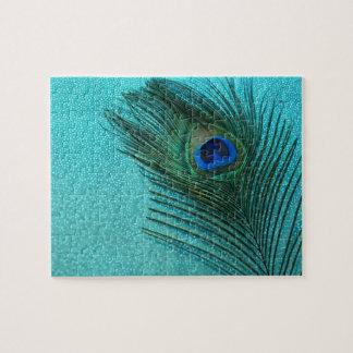 Metallic Aqua Blue Peacock Feather Jigsaw Puzzle