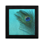 Metallic Aqua Blue Peacock Feather Keepsake Box
