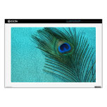 Metallic Aqua Blue Peacock Feather Laptop Skin