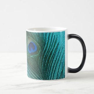 Metallic Aqua Blue Peacock Feather Magic Mug