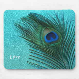 Metallic Aqua Blue Peacock Feather Mouse Pad