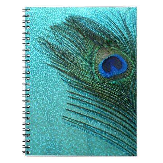 Metallic Aqua Blue Peacock Feather Notebook