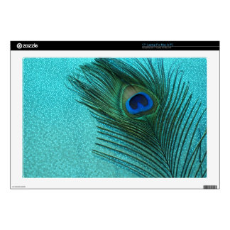 "Metallic Aqua Blue Peacock Feather Skin For 17"" Laptop"
