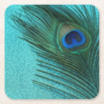 """Metallic Aqua Blue Peacock Feather Square Paper Coaster<br><div class=""""desc"""">Great peacock feather still life photography.  The shiny aqua blue background adds depth to the photo.  Great for people who love peacocks and birds.</div>"""