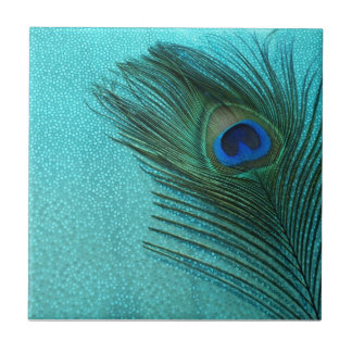 Metallic Aqua Blue Peacock Feather Tile