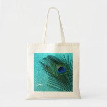 Metallic Aqua Blue Peacock Feather Tote Bag