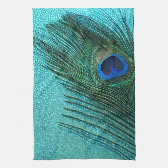 Metallic Aqua Blue Peacock Feather Towels