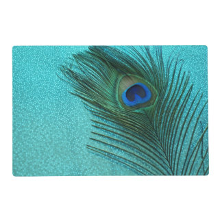 Metallic Aqua Blue Peacock Placemat