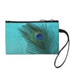 Metallic Aqua Peacock Feather Change Purses