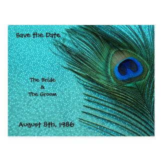 Metallic Aqua Peacock Save the Date Postcard