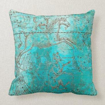 Beach Themed Metallic Aquatic Ocean Water Beach Brown Unicorn Throw Pillow