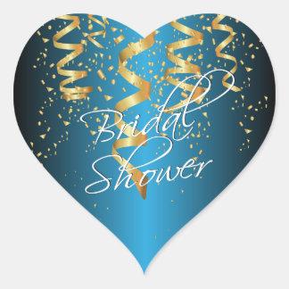 Metallic Baby Blue Gold Confetti Bridal Shower Heart Sticker