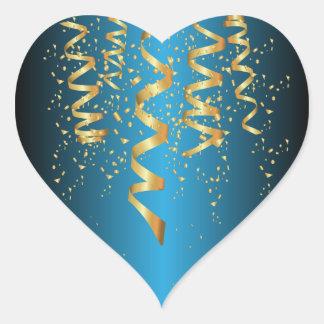 Metallic Baby Blue Gold Confetti Heart Sticker