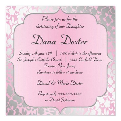 Metallic Baby Pink Baptism Invitation