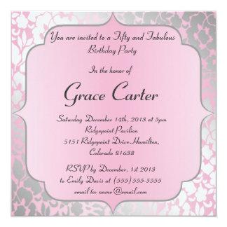 Metallic Baby Pink Happy Birthday Party Invitation