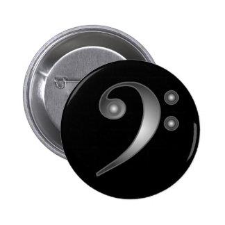 Metallic Bass Clef 2 Inch Round Button