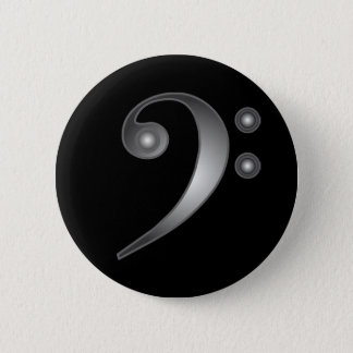 Metallic Bass Clef Button