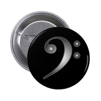 Metallic Bass Clef Button