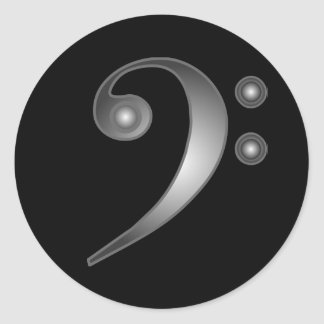 Metallic Bass Clef Classic Round Sticker