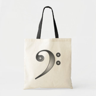 Metallic Bass Clef Tote Bag