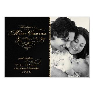 "Metallic Black and Gold Scripty Christmas Photo 5"" X 7"" Invitation Card"
